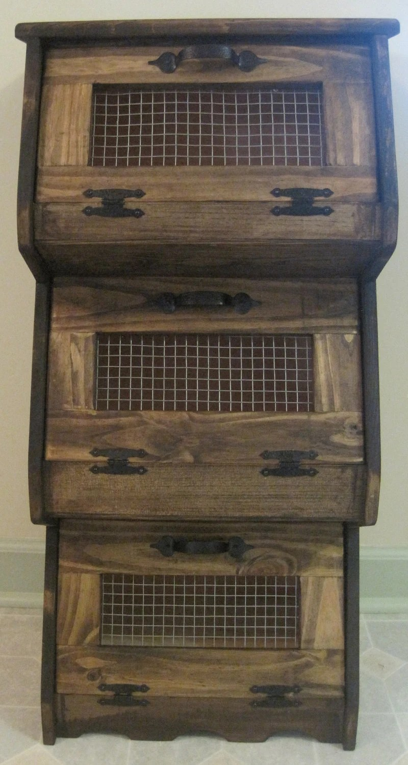 Rustic Vegetable Bin Storage Cupboard Primitive Shelf Onion
