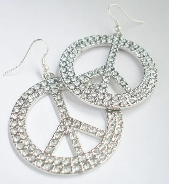 Earrings Peace Sign Hoops by MelissaTrice on Etsy