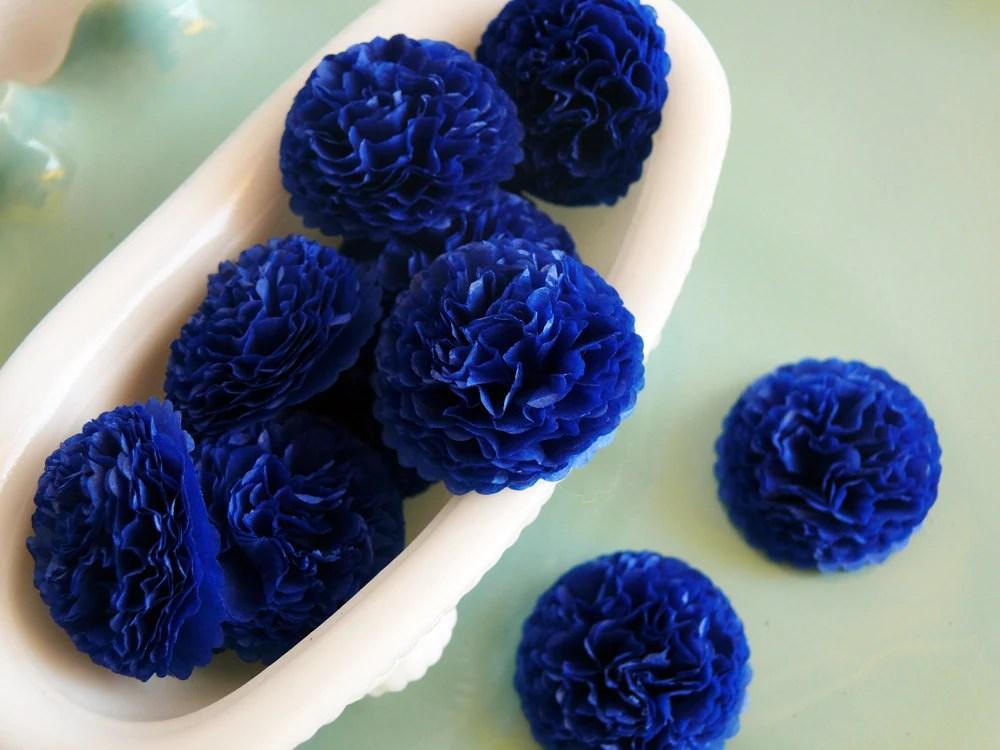 Button Mums Tissue Paper Flowers Dark Blue Navy Blue Wedding