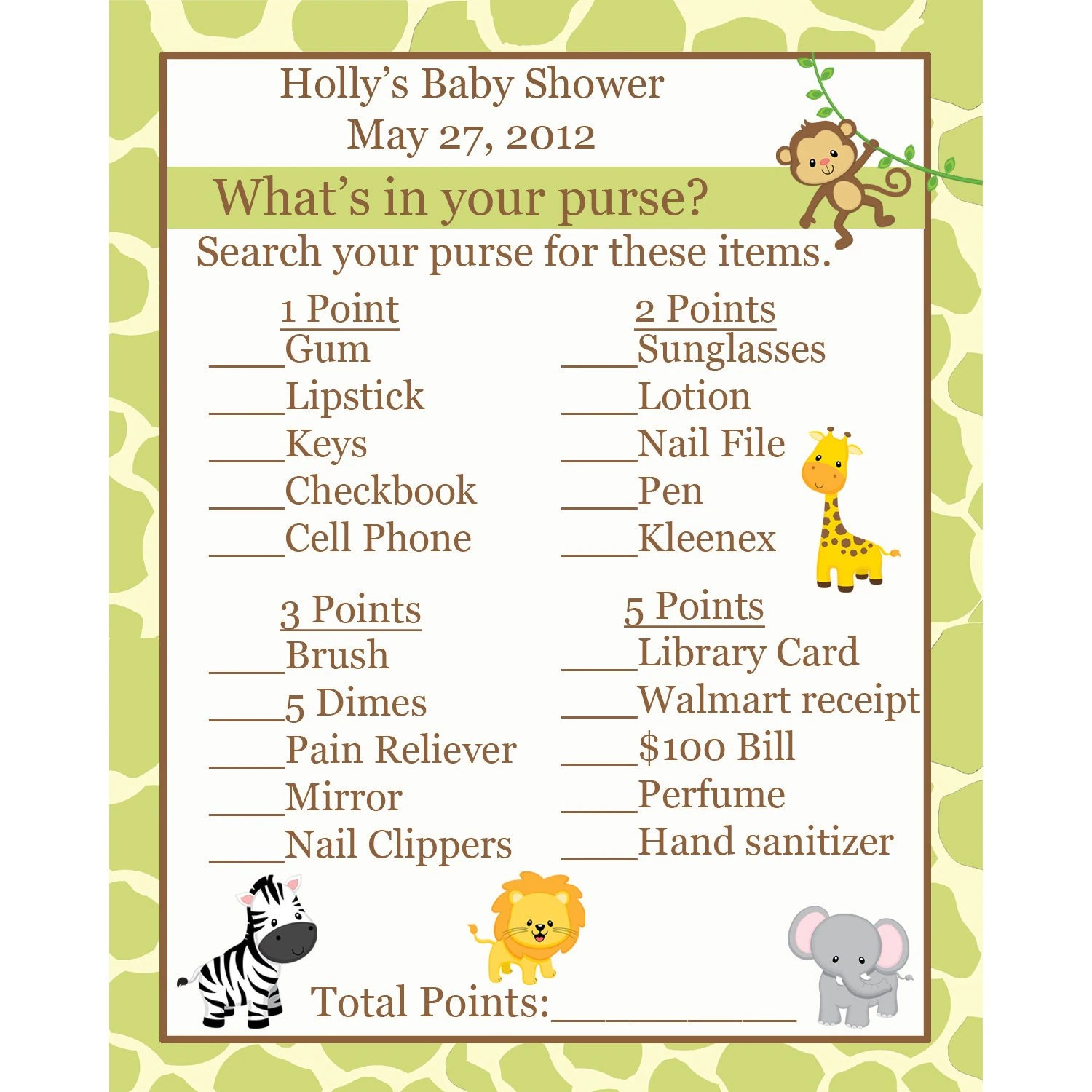 Items Similar To 24 Baby Shower Game Cards Whats In Your Purse Game