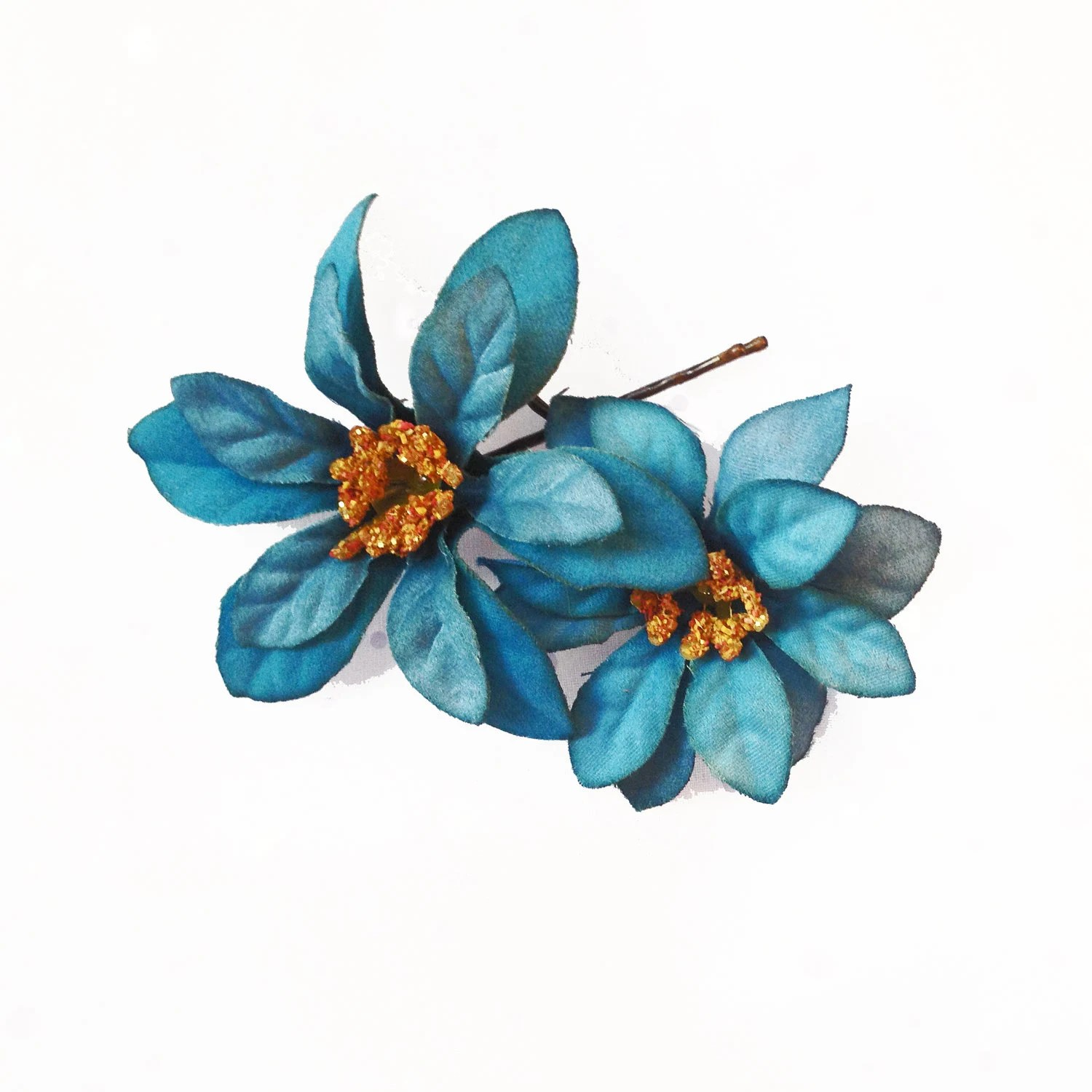 Items Similar To Teal Flower Hair Pins 2 Peacock Blue