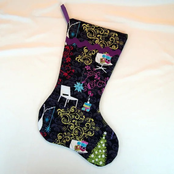 Retro Modern Christmas Stocking with Purple Lining