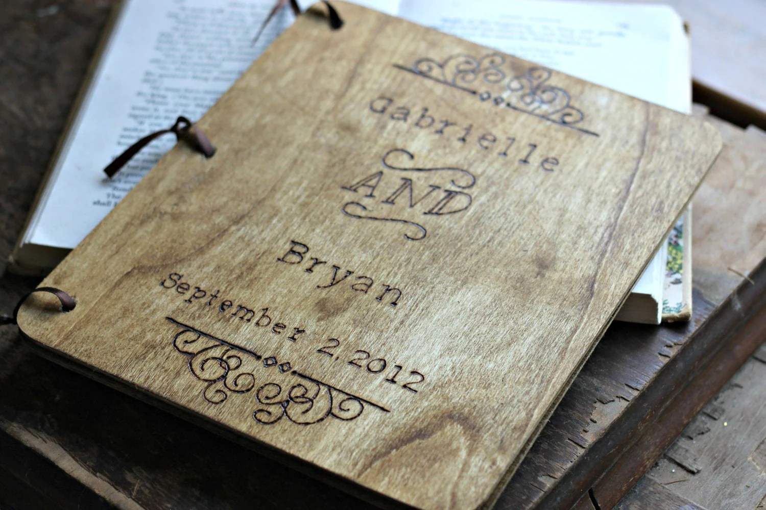 Custom Wedding Guest Book Vintage Style by LazyLightningArt