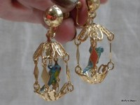 Vintage Bird Cage Earrings With Blue Parrot Bird