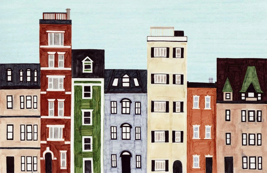 Boston, Back Bay, Massachusetts, New England, Brownstones, Historical Buildings, Homes, Row Houses, Colorful Illustration Art Print - annasee