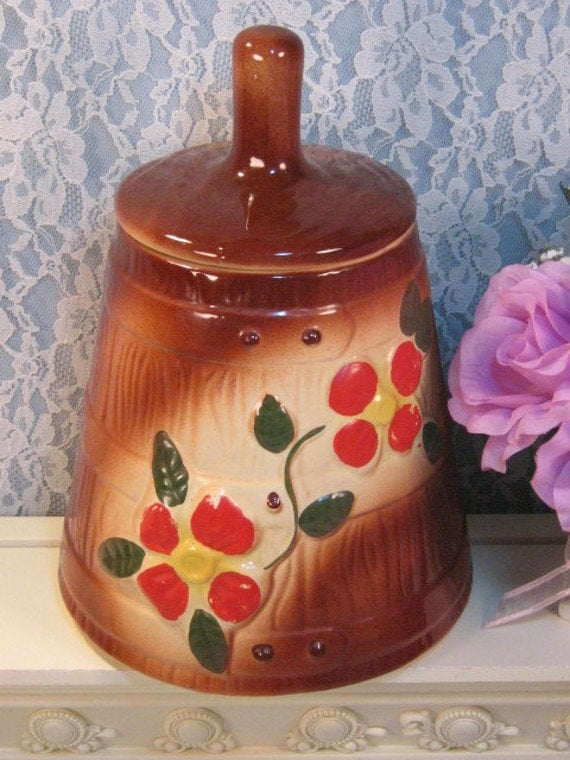 Vintage McCoy Pottery Brown Red Flower Butter Churn Cookie