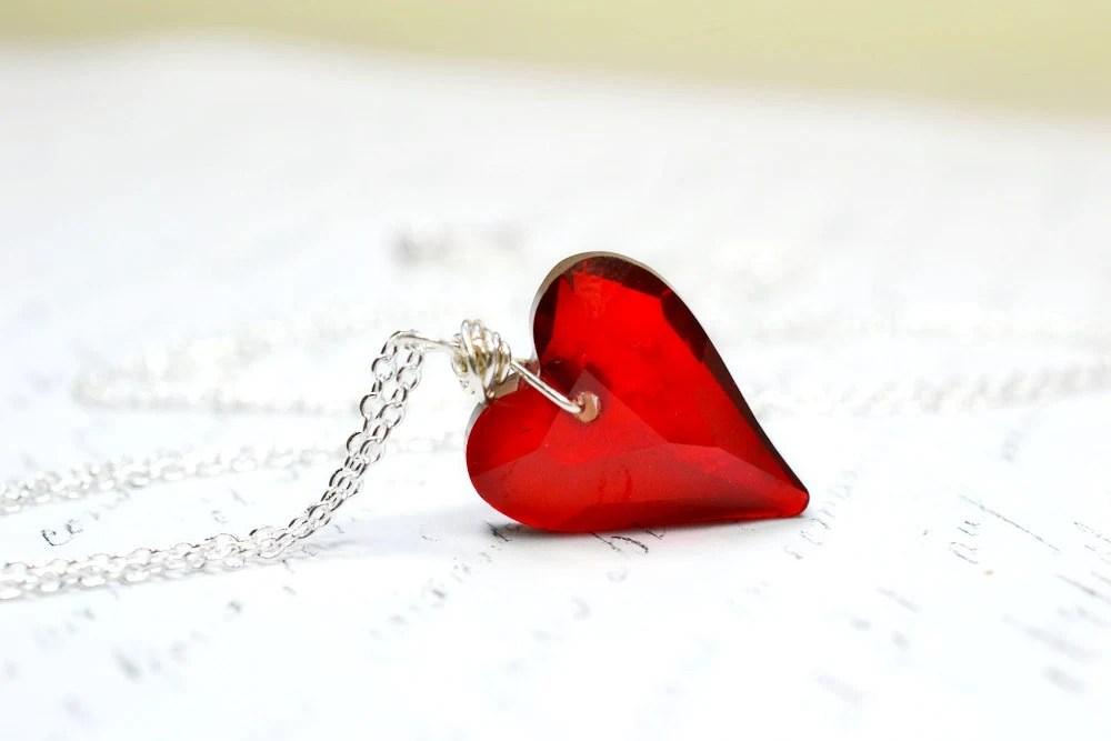 Red Necklace, Red Heart Necklace, Swarovski Crystal Necklace, Red Pendant, Heart Pendant, Valentines Pendant, Valentines Day jewelry - waterwaif