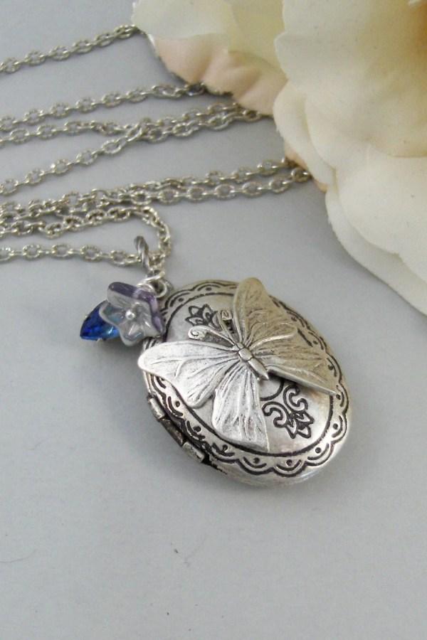 Ocean Butterflynecklacelocketbutterfly Silver Locket