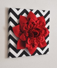 Red Wall Flower Red Dahlia on Black and White Chevron by ...