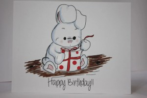 birthday bunny drawing rabbit happy something envelope birthdaycard request order reycled seal comes paper