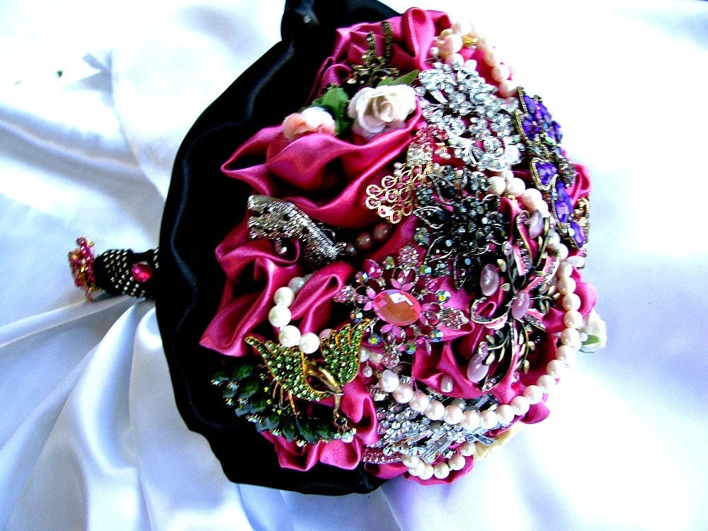 Wedding Brooch Bouquet Hot Pink And Black By Thealteredchick