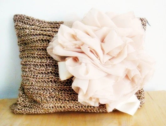 Crochet Clutch Bag Gold Champagne Ivory Purse Chiffon Huge Flower - faima