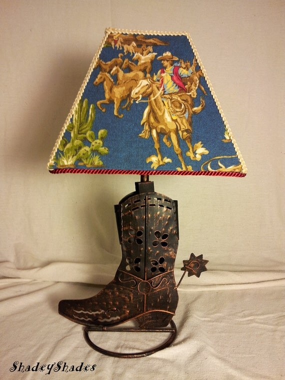 Cowboy Boot Lamp  Cowboy Fabric Shade in Blue