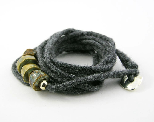 Bracelet wrist wrap felt grey ceramic silver tiger eye brown aqua olive green rustic boho free shipping teamt - PiaBarileJewelry