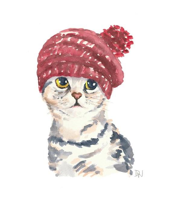 Cute Dog Doodle Wallpaper Cat Watercolor Original Painting Knit Hat Silver Tabby Cat