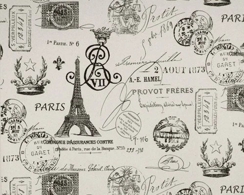 Home Dec Fabric Yardage French Stamps Black and Off-White