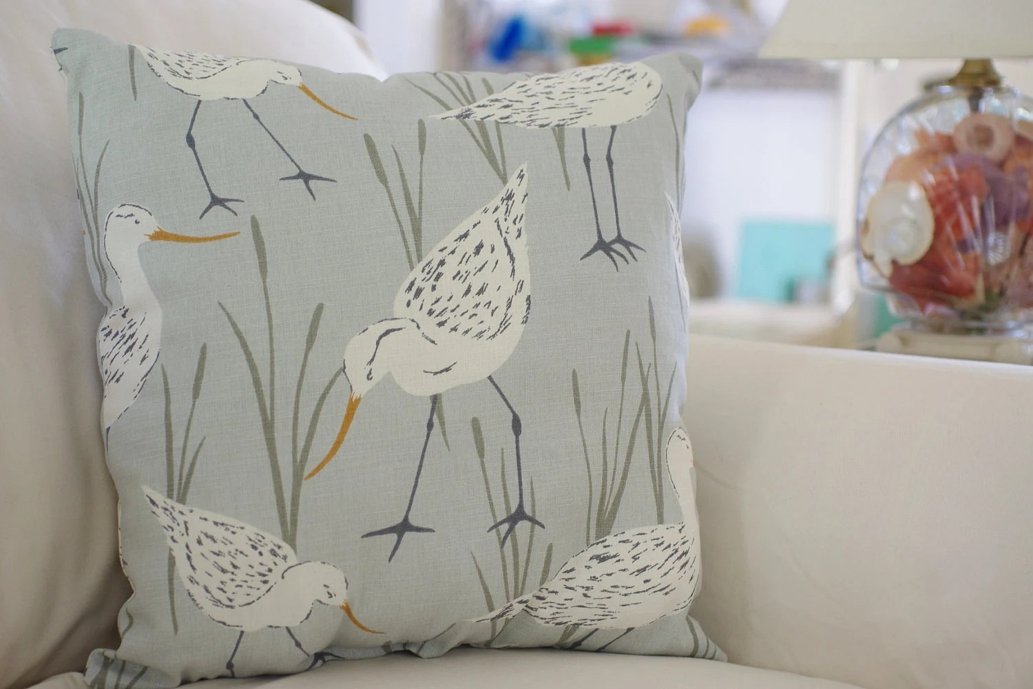 Beach Decor Sandpiper Throw Pillow PICK YOUR FABRIC