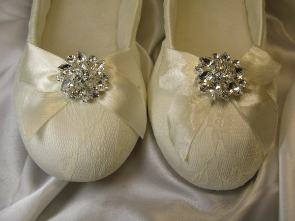 Ivory Ballet Flat Wedding Shoes With Crystal Flower