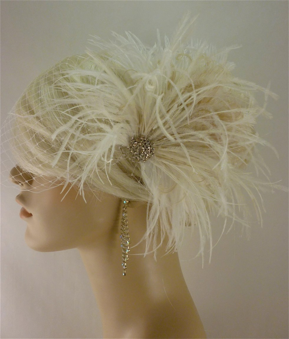 Wedding Hair Fascinator, Wedding Hair Accessories, Feather Hair Clip, Wedding Hair Clip, Bridal Fascinator, Wedding Veil, Ivory Fascinator