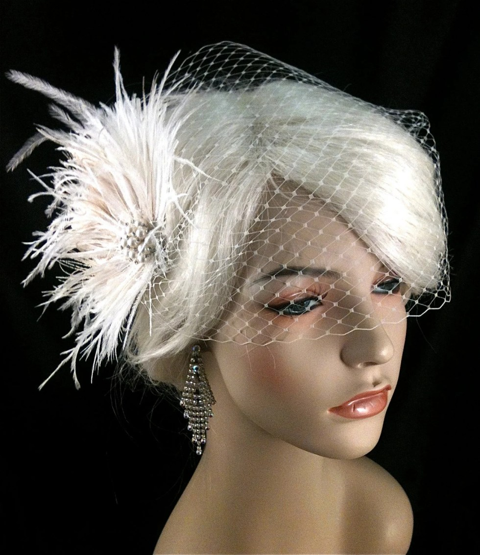 Wedding Bridal Fascinator, Bridal Fascinator, Feather Fascinator , Wedding Veil, Bridal Headpiece - The Couture Bride