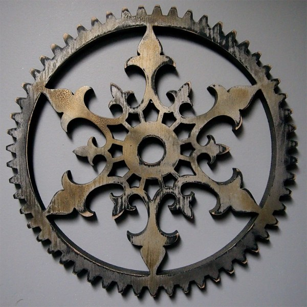 Steampunk Distressed Painted Ornate Gear 16
