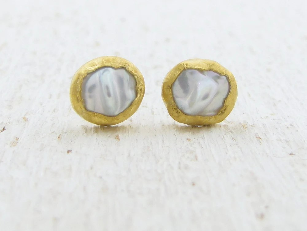 24k Gold Stud earrings Solid Gold Studs Pearls and Gold