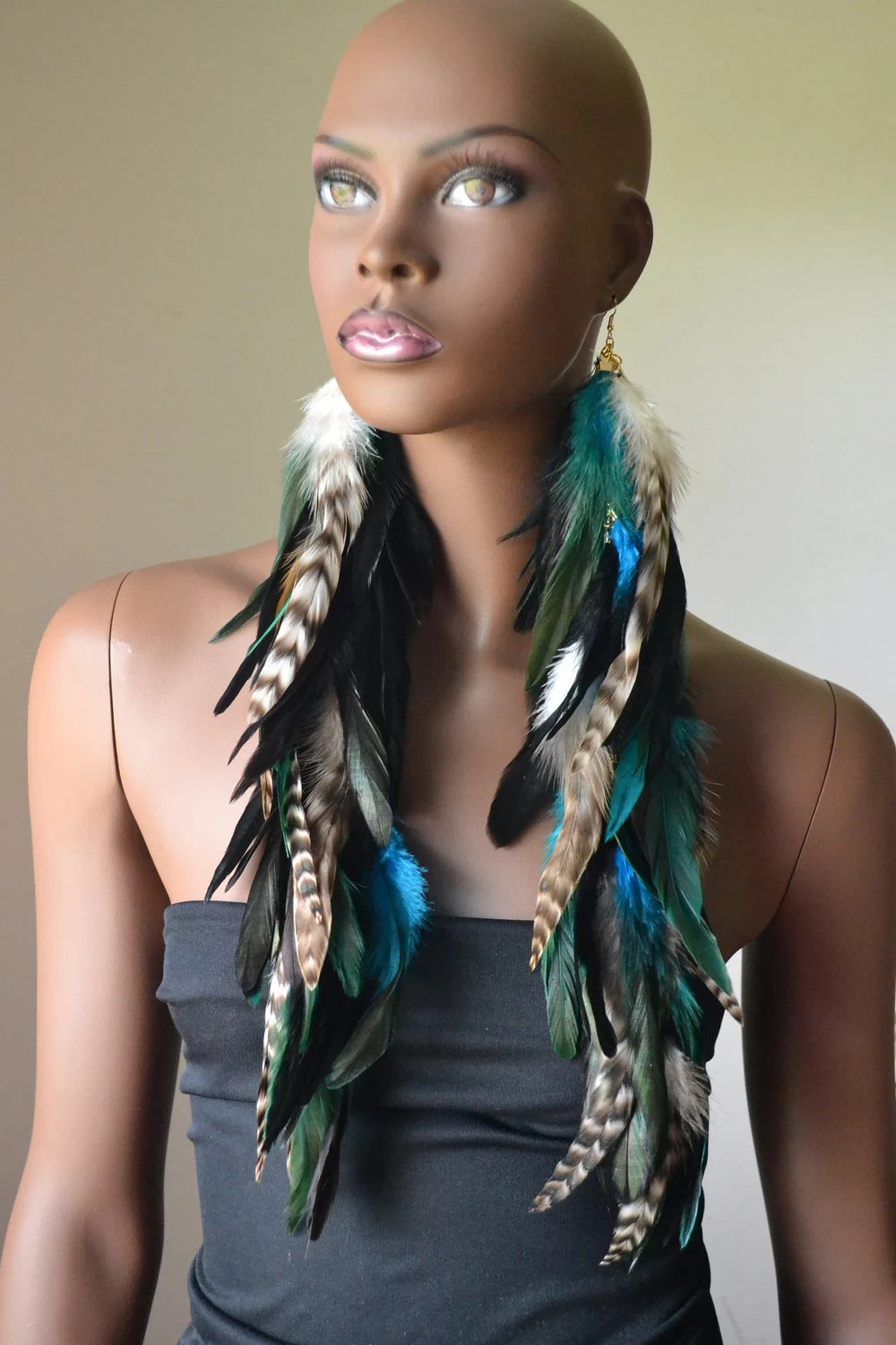 Very Long Feather Earrings Black Turquoise And Grizzly