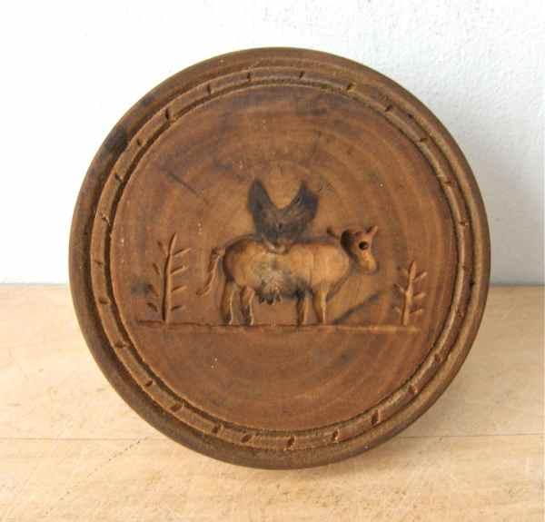Antique Wooden Butter Mold Fine American Primitive