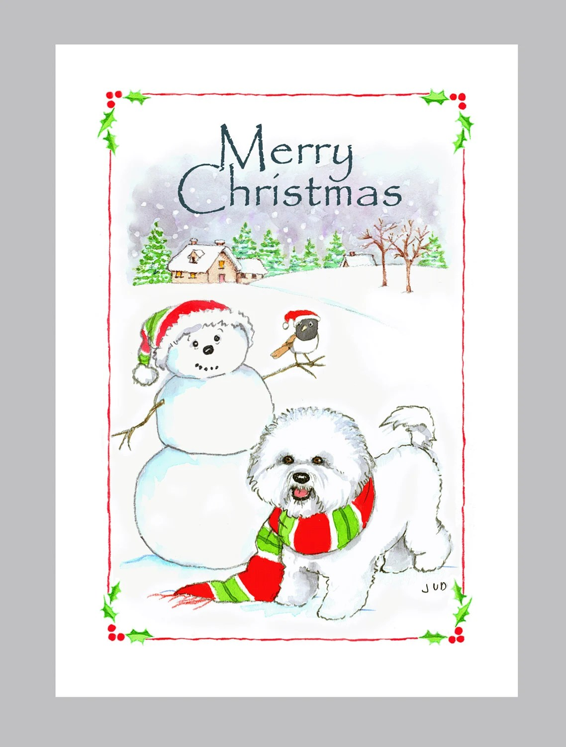 Bichon Frise Christmas Card Box Of 16 Cards And Envelopes