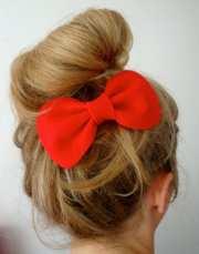 big bow red felt hair