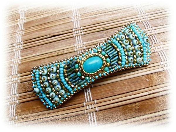 Bead Embroidered Barrette Ooak Gold Turquoise Green