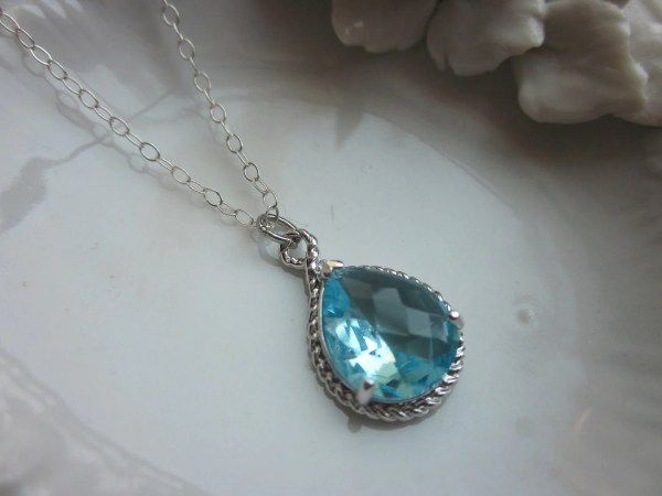 Aquamarine Necklace Silver Blue Teardrop Sterling Chain