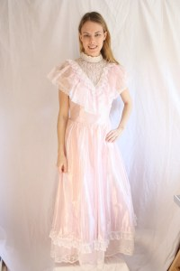 Vintage 70s Prom Dress/ Victorian Style