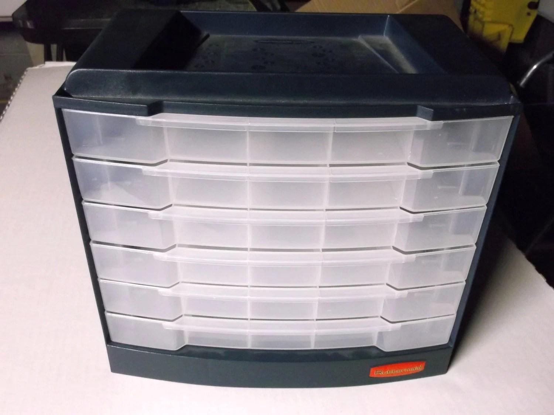 Rubbermaid 6 Drawer Storage Bin Hardware Organizer Unit