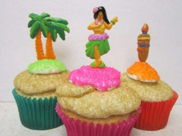 Luau Hawaii Hula Girl Palm Tree Tiki Torch Cupcake Toppers