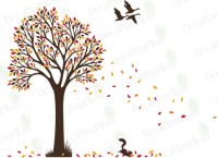 Tree Wall Decal Nursery Decals Autumn Fall Tree with Birds