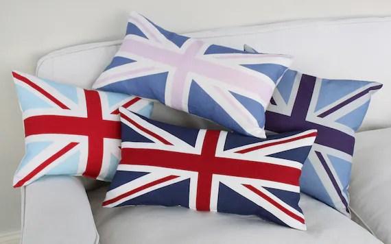 Linen Union Jack Cushion - Purple Oblong