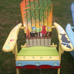 Paint For Adirondack Chairs Office Chair Mesh Seat Hand Painted Yellow Orange Sunset With