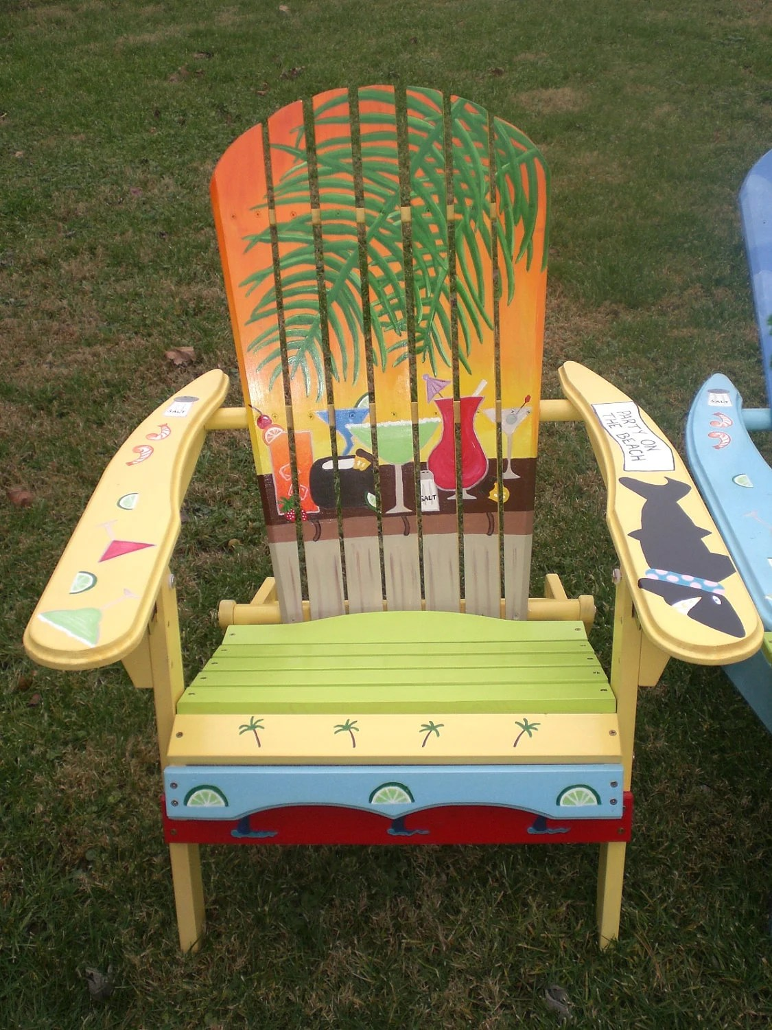 painted adirondack chairs pregnancy beach chair hand yellow orange sunset with
