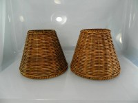 Vintage Wicker Lamp Shades Natural Wicker 1 Pair