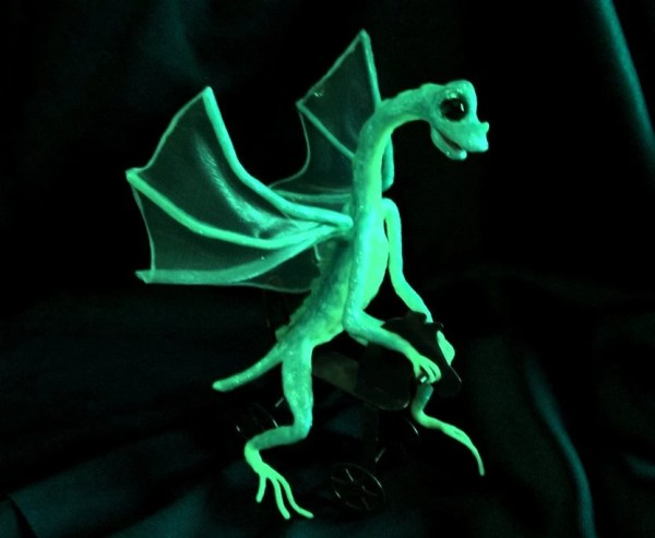 Turquoise Dragon on Rolling Red Horse Glows in the Dark