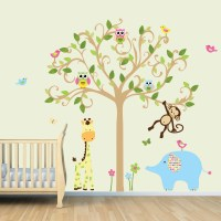 Vinyl Wall Decal Monkey Wall Decal Jungle Animal Tree Decal