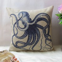 1 cotton linen simple blue Octopus throw pillow by ...