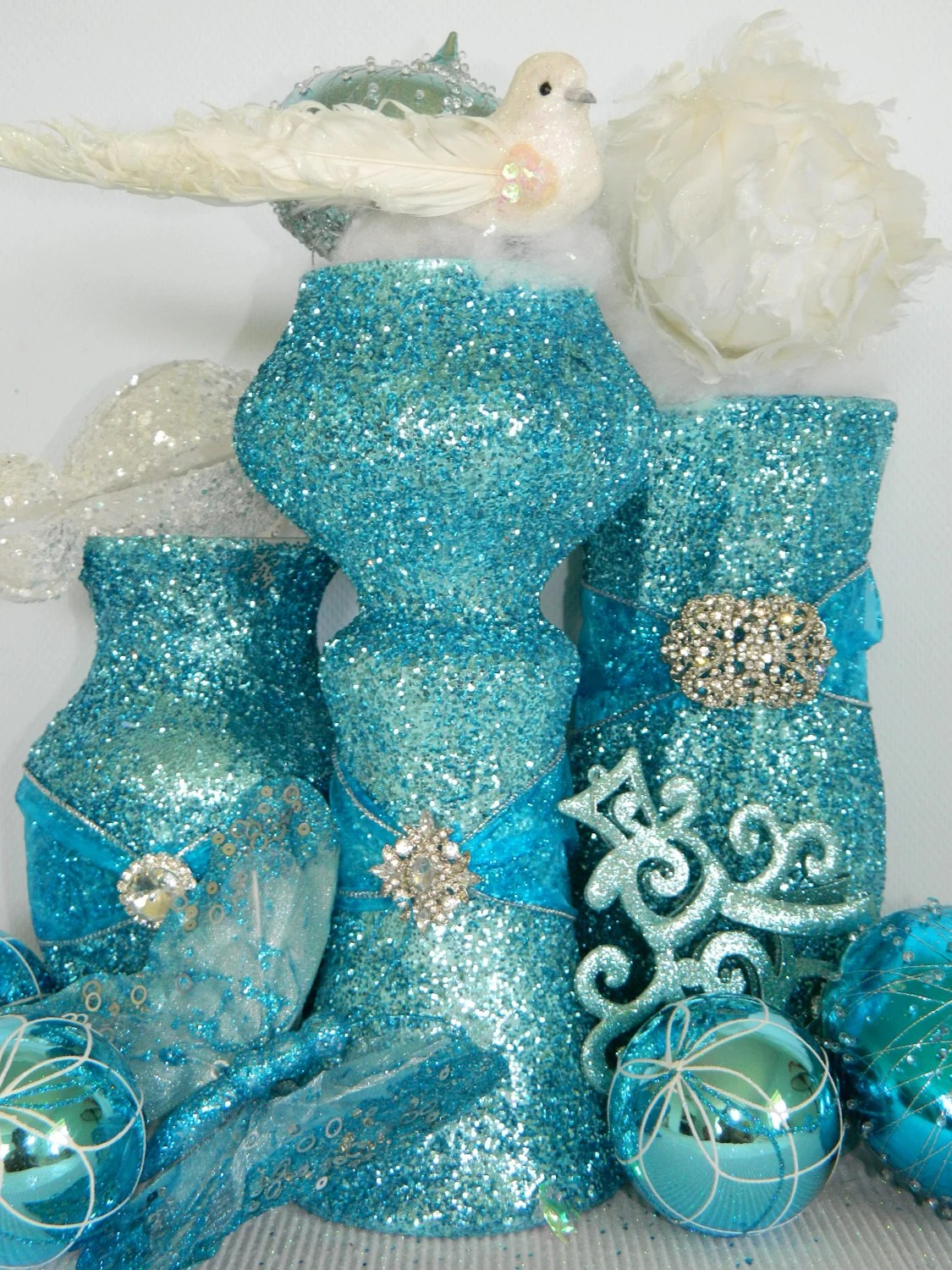 Wedding Decorations Wedding Centerpiece Shabby Chic Wedding Aqua