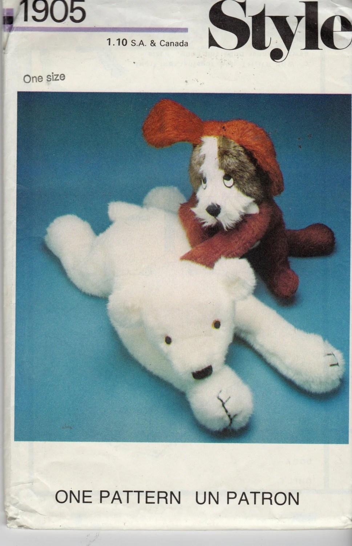 Uncut Style Pattern 1905 FLOPPY TOYS Dog and Polar Bear
