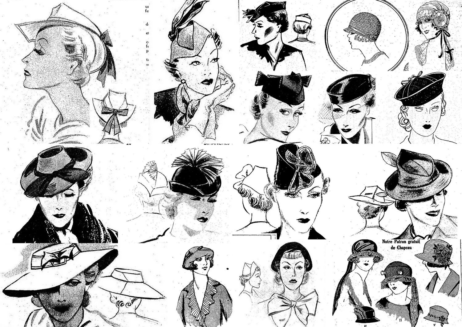 Lot Of 17 Womens Vintage Hat Sewing Images Of By