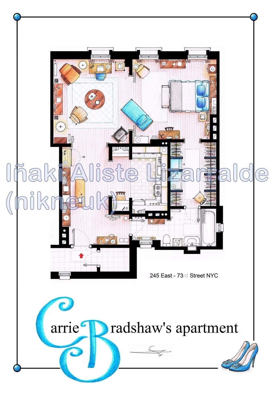 Carrie Bradhsaw's Apartment Floorplan (BIG)