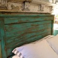 Distressed full size headboard turquoise by toolshedoriginals