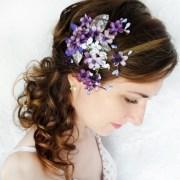 lilac purple flower hair clip bridal