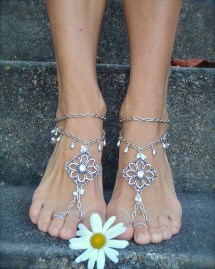 Reserved Silver Wedding Barefoot Sandals Chain